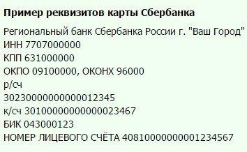 Реквизиты дебетовой карты Сбербанка