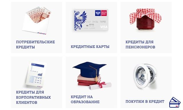 почта банк виды кредитов